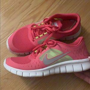 Nike Free 3 Pink/Neon Green size 7Y kids, 8.5women
